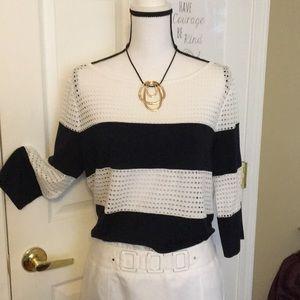 Navy & White striped Ann Taylor Blouse - EUC!